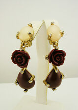 Oscar de la Renta Carved Rose and Crystal Clip-On Earrings MADE IN USA
