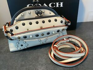 COACH 56560 WESTERN RIVET OUTLAW FRAME BAG IN CHALK!  15 MADE!  REALLY AMAZING!