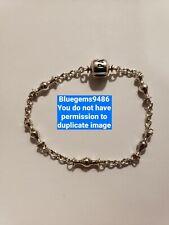"Pandora 6.7"" 5 Clip Station Bracelet - .925 Sterling Silver - Discontinued/Rare"