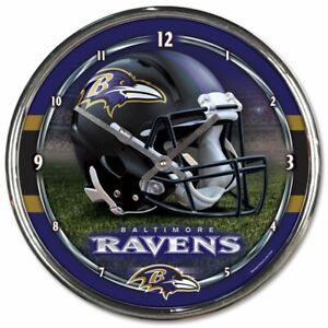 NFL - Baltimore Ravens - New Chrome Round Wall Clock  12 Inches Diameter