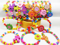 12pcs Mixed Wholesale Kids Children Wood Elastic Bead Bracelets Favor Jewelry