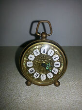Vintage West Germany Blessing Travel Bedside Alarm Clock Gold Filigree FREE SHIP