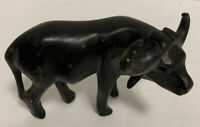 Wildebeest Wood Carving Art Brown Black Wooden Figure Antelope Buffalo Handmade