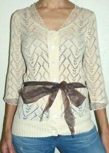 New Tag Women's XS April Cornell Ivory Ecru Camila Crochet Knit Cardigan Sweater