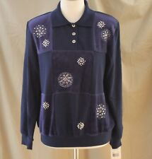 Alfred Dunner, Small, Easy Street, Navy Floral Knit Top, New with Tags