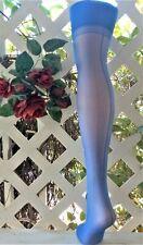 CINDY'S SAPPHIRE BLUE SEAMED 15DE.SHEER NYLON SHADOW-TOE STOCKINGS 8.5-10