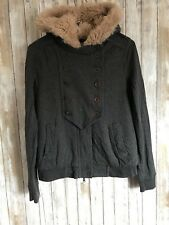 Marc by Marc Jacobs Gray Faux Fur Lined Hooded Full Zip Jacket M Medium *
