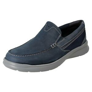 MENS CLARKS COTRELL EASY LEATHER EVERYDAY LIGHTWEIGHT SLIP ON CASUAL SHOES SIZE