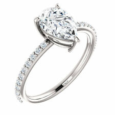 14K White 9x6mm Pear Forever One™ Moissanite & 1/5 CTW Diamond Engagement Ring