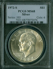 1972-S EISENHOWER SILVER DOLLAR PCGS MS-68 2ND FINEST .