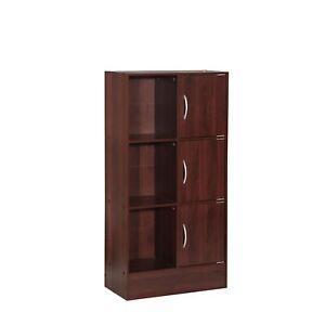 Hodedah Multipurpose Bookcase with 3-Doors 6-Shelves