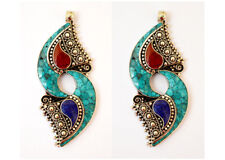 Asian Jewelry Turquoise Coral Lapis A3 Lot of 2 Handmade Sterling Silver Pendant