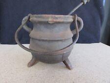 Vintage Hanging Cast Iron Fire Smudge Pot - Cauldron - Kettle - Pumice Wand