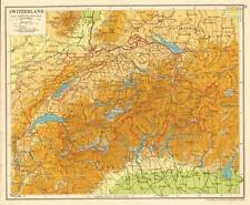 Switzerland 1930 Original Antique Map Italy Germany