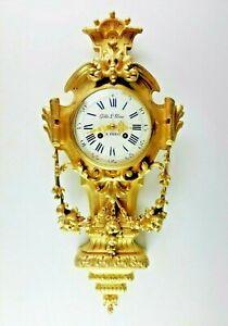 Large Fine 18C French Louis XVI Ormolu Gilt Bronze Cartel Clock Wall Clock
