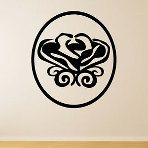 Simple Rose In Circle Frame Wall Sticker Decal Transfer Nature Foral Vinyl UK