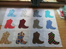 WESTERN BOOT   APPLIQUED QUILTING BLOCKS 10 INCH BLOCKS