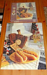 Puzzle Home Run Baseball 550 piece Ceaco COMPLETE jigsaw americana flag hot dog