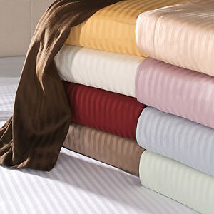 UK SMALL DOUBLE ALL STRIP BED SET-SHEET SET/DUVET/FITTED 1000TC EGYPTIAN COTTON