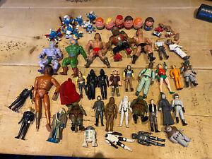 Vintage Star Wars action figures joblot heman et smurfs barn lid find toys