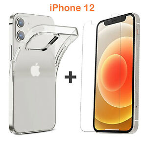 For Apple iPhone 12 Clear Case Cover and Soft Front Screen Protector Film