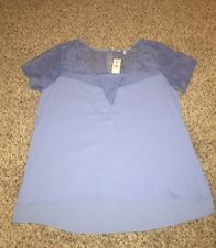 NWT Express Short Sleeve Blue Lace Top