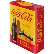 DECO : BOITE METALLIQUE XL : COCA-COLA CASIER SUR FOND JAUNE ET ROUGE