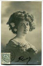 CPA - Carte Postale - Fantaisie - Portrait d'une Femme - Fleurs - 1912 (M7900)