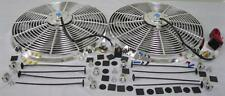 """Dual 16"""" Chrome Electric Radiator Cooling Fans + Relay Thermostat Install Kit"""