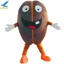 Cartoon Coffee Bean Mascot Costume Fancy Dress Adult Size for Advertising Use