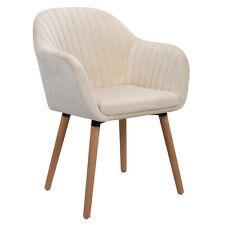 1x Esszimmerstuhl Küchenstühle Wohnzimmerstuhl Stuhl aus Samt Cream BH95cm-1