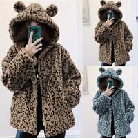 Hiver Femme Manteau à capuche Peluche Leopard Manche Longue Loose Casual Veste