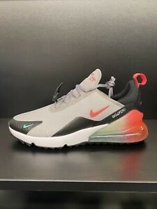 Nike Air Max 270G Golf Shoes - Atmosphere Grey/Hot Punch - 9uk