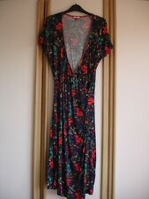 Joe Browns Mock Wrap Front Dress navy wirth red poppy print size 16/18
