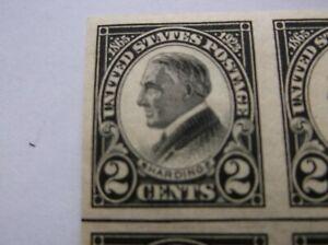 US #611 MNH CAT as 2 pairs Black Harding stamps SCV $40