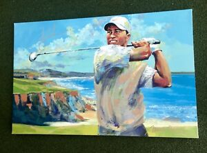 Very Rare Malcom Farley Young Tiger Woods Signed Oil Painting Pebble Beach