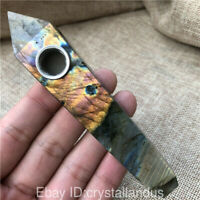 Natural Quartz Crystal pipes labradorite Smoking Pipe Point obelisk Healing Wand