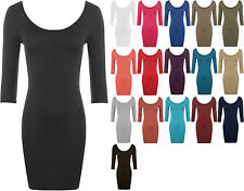 New Ladies Bodycon Stretch Short Dress Scoop Neck Low Back Womens Long Top 8-14