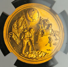 """1969, United States. Proof Gold """"Apollo 11/Moon Landing"""" Medal. (4gm!) NGC PF64!"""