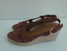 Franco Sarto Platforms & Wedges Brown Soft Leather Women's Shoes Size-7.5M