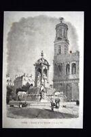 Veduta della Fontana di San Sulpizio, a Parigi Incisione del 1867