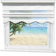 Doppelrollo Weiß Silber glitzert Effekt Blickdicht Gardinen Fenster Klemm Rollos