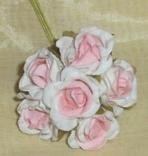 ROSE millinery Vintage style 6 silk wh PINK fabric flower pick ALEXANDER dolls