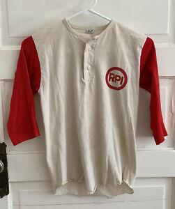 Vintage 70s Kids XL (18-20) 3 Quarter Sleave Baseball Jersey Button Down USA RPI