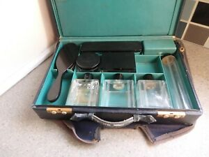 Vintage French Art Deco Blue Leather Vanity Case.