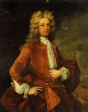 Oil painting charles jervas - portrait of thomas western esq in a red coat bart