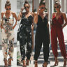 Boho Womens V Neck Long Jumpsuit Floral Pocket Harem Playsuit Summer Trousers
