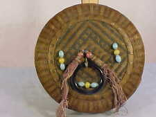 Vintage Woven SEWING BASKET w/TASSELS & BEADING--Never Used
