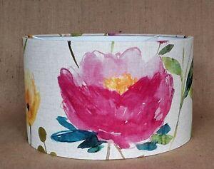 Handmade Bluebellgray FLOWER FIELD floral linen drum lampshade 15 20 25 30 40cm