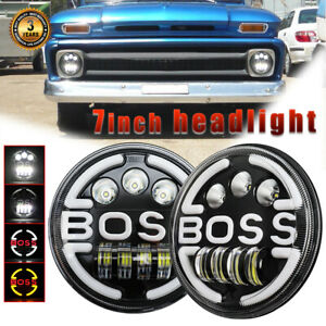 """Pair 7"""" Inch LED Headlights Round HI/LO Sealed Beam for Chevy Pickup Truck C10"""